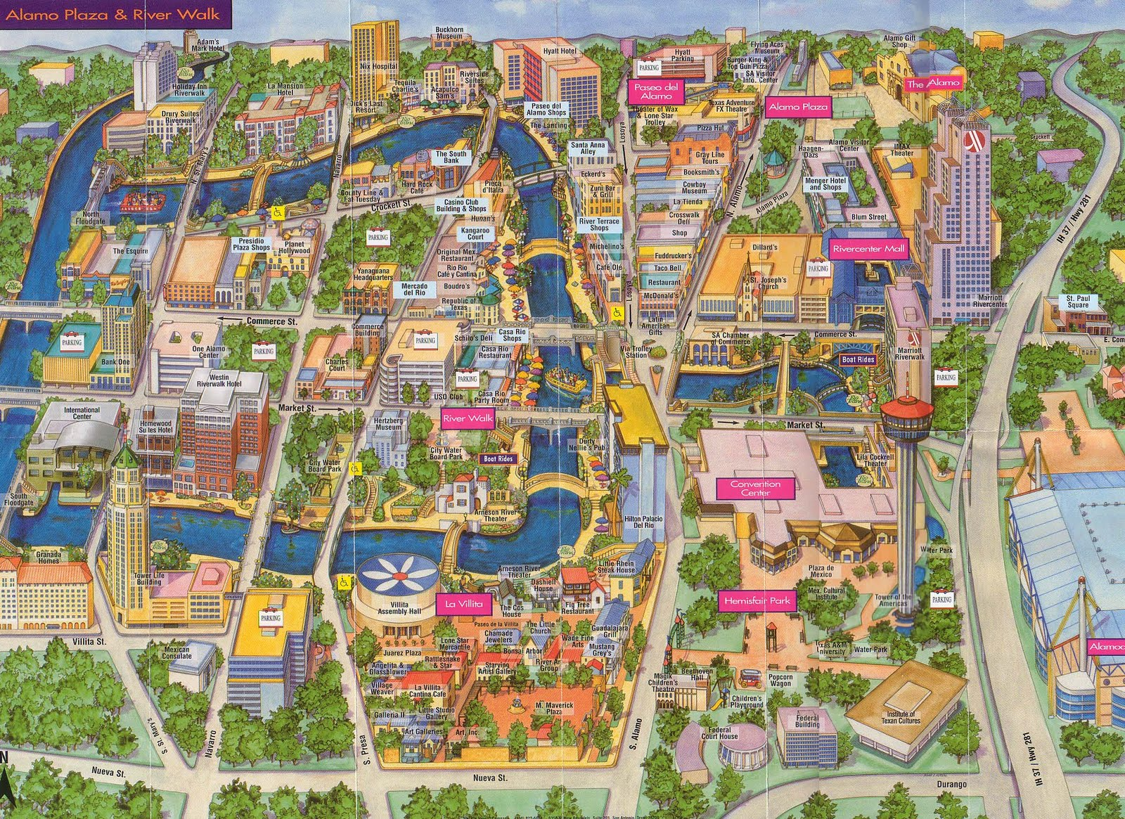 San Antonio River Walk Map Free Printable Maps