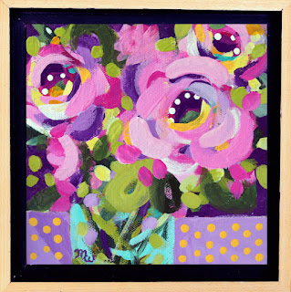 Flower painting by artist Merrill Weber framed original acrylic on canvas 6 x 6 Celebration 124