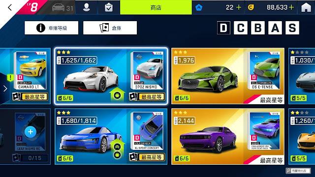 【遊戲】與現實最脫節的賽車大作《狂野飆車 9:競速傳奇》(Asphalt 9: Legends) - 各層級的車輛能力對於賽事都有影響