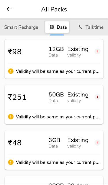 Airtel 4G data booster packs