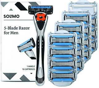 $12.10, Solimo Men's 5-Blade MotionSphere Razor + 16 Cartridges
