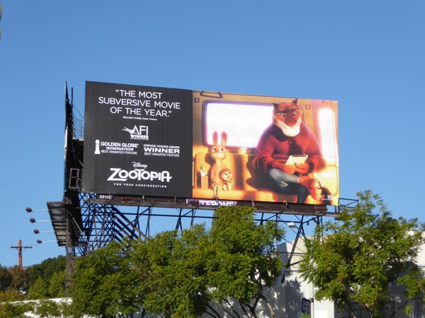 Disney Zootopia awards consideration billboard