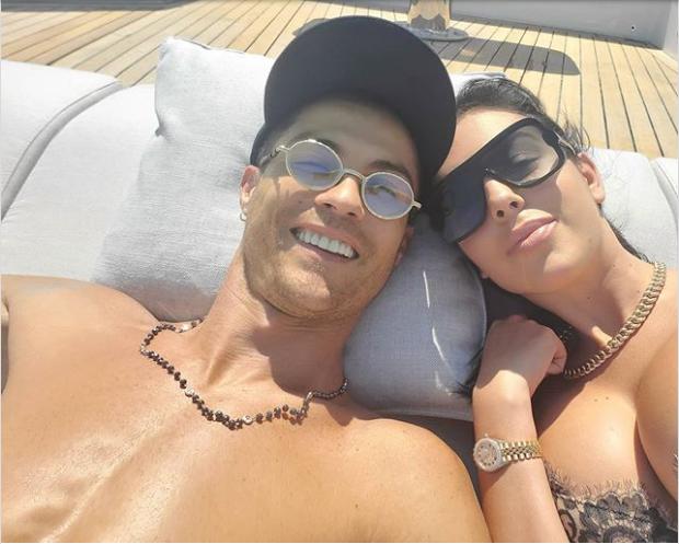 Ronaldo shirtless & Rodriguez crop-top bust Snap, happy mood