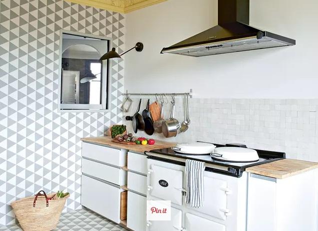hias dinding dapur dengan patern