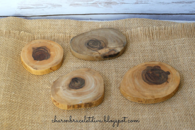 rustic natural wood slices