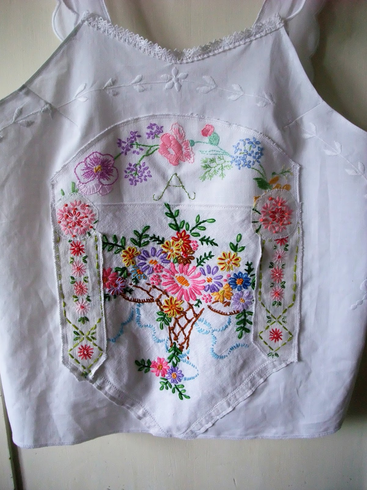 vintage embroidered linen top by karen vallerius