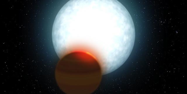 Ultra hot Jupiter MASCARA-2B/KELT-20b -- Artist's impression.Credit: Gabriel Pérez Díaz, SMM (IAC).