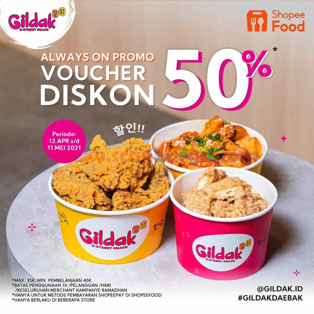 Promo GILDAK VOUCHER DISKON 50% khusus pemesanan via SHOPEEFOOD