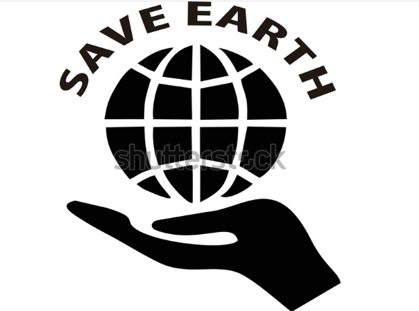 illustration design,Logo Love Earth, with black and white color