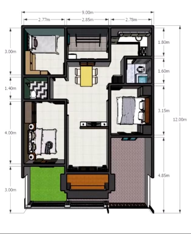Desain Dan Denah Rumah Minimalis Ukuran 9 X 12 M Tampil Sederhana Tapi Nyaman Dengan 3 Kamar Tidur Homeshabby Com Design Home Plans Home Decorating And Interior Design