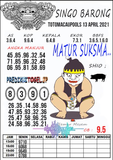 Syair Top Singo Barong Toto Macau Selasa 13 April 2021