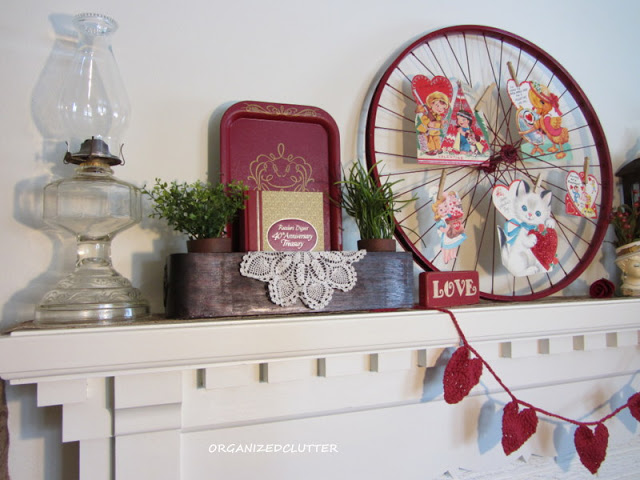 Valentine's Day Mantel with Bicycle Wheel