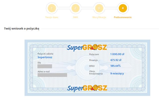 Wniosek o pożyczkę Super Grosz