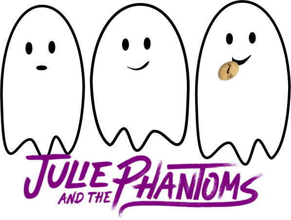 Three ghosts hover over bold purple lettering that says: Julie and the Phantoms. One ghost is eating a cookie.