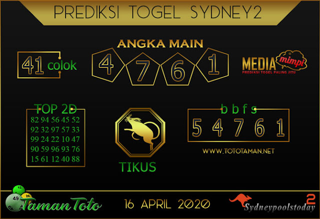 Prediksi Togel SYDNEY 2 TAMAN TOTO 16 APRIL 2020