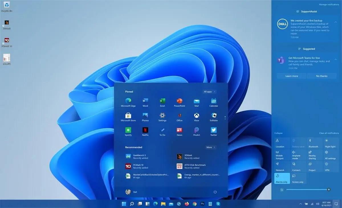 windows 11 homescreen image microsoft Windows 11, Windows 11 free download