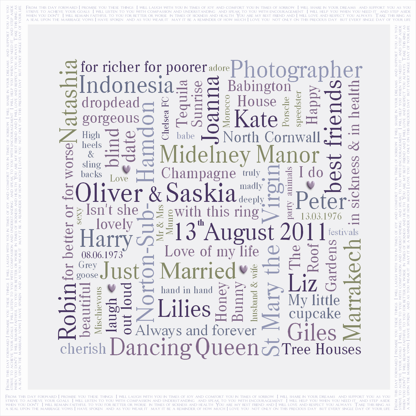 Personalised wedding present Word Art canvas
