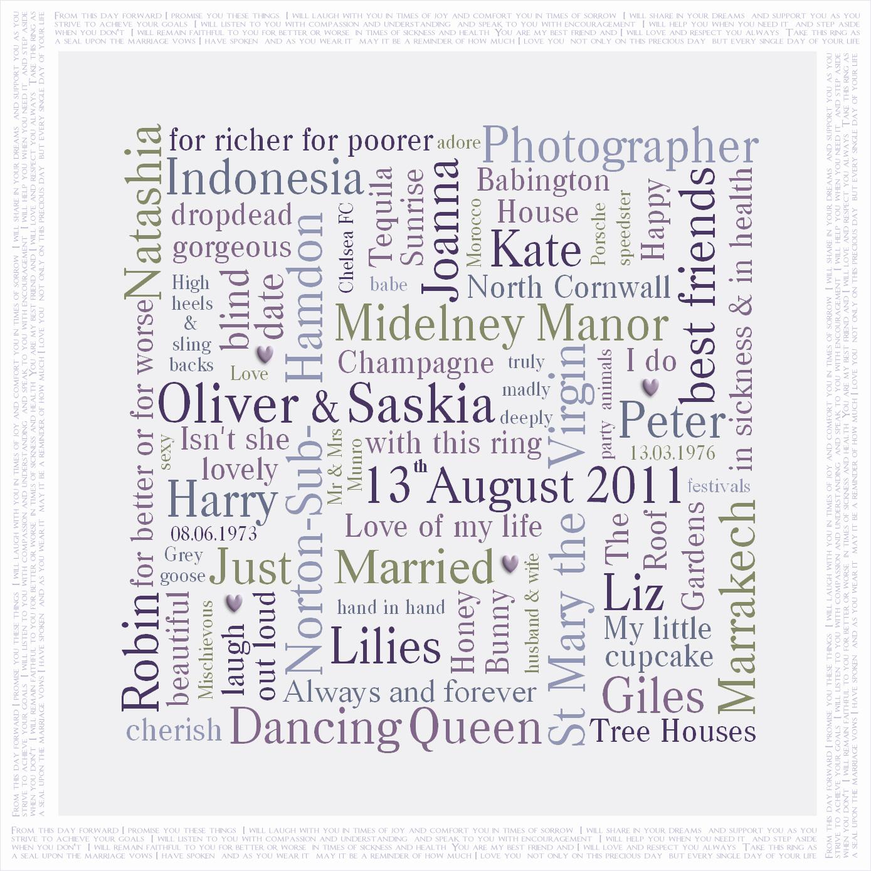 Personalised wedding present Word Art canvas