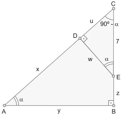 Os pontos D e E estão sobre os lados de um triângulo retângulo ABC