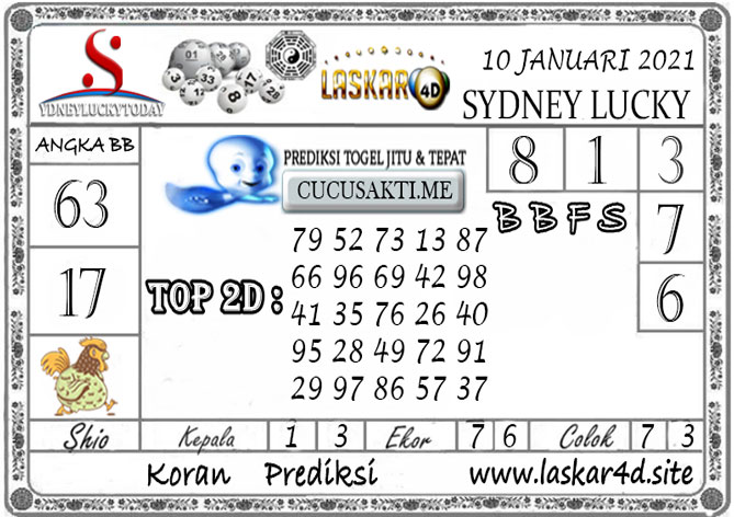Prediksi Sydney Lucky Today LASKAR4D 10 JANUARI 2021