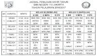 Jadwal PAS Tahun Pelajaran 2016-2017 Semester Genap