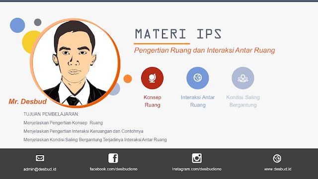 Media pembelajaran PPT materi IPS kelas 7 Bab 1 tentang Ruang dan Interaksi Antar Ruang.
