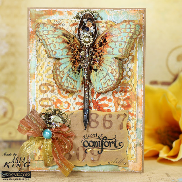 vintage rusty butterfly card