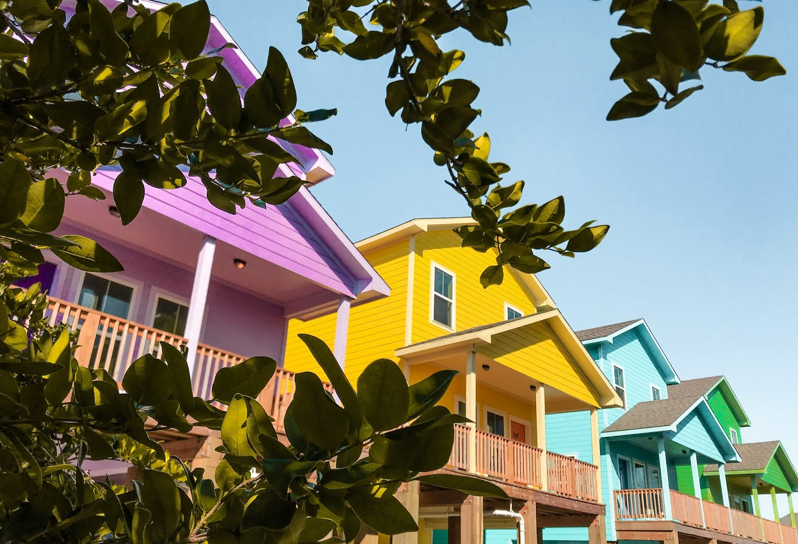 A row of candy-colored houses in Galveston