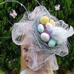 pretty birds nest easter hat parade DIY tutorial