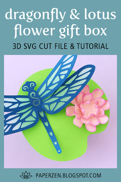Paper Dragonfly and Lotus Flower Party Favor Gift Box - 3D SVG Cut File