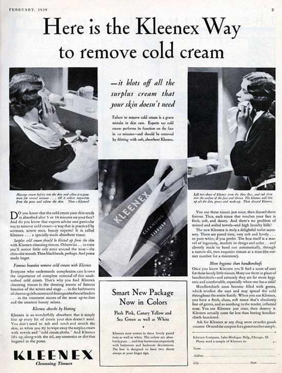 Kleenex, advertising 1930