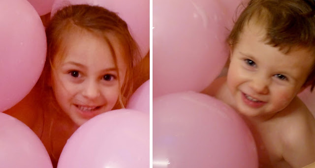 There's nothing like a bubble bath filled with pink balloons followed up by a movie and popcorn to make a great ending to a great party day.