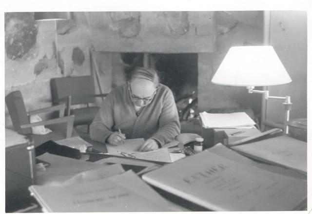 Thomas de Hartmann working on his opera Esther at Taliesin in Arizona — home of Frank Lloyd Wright (early 1950s)