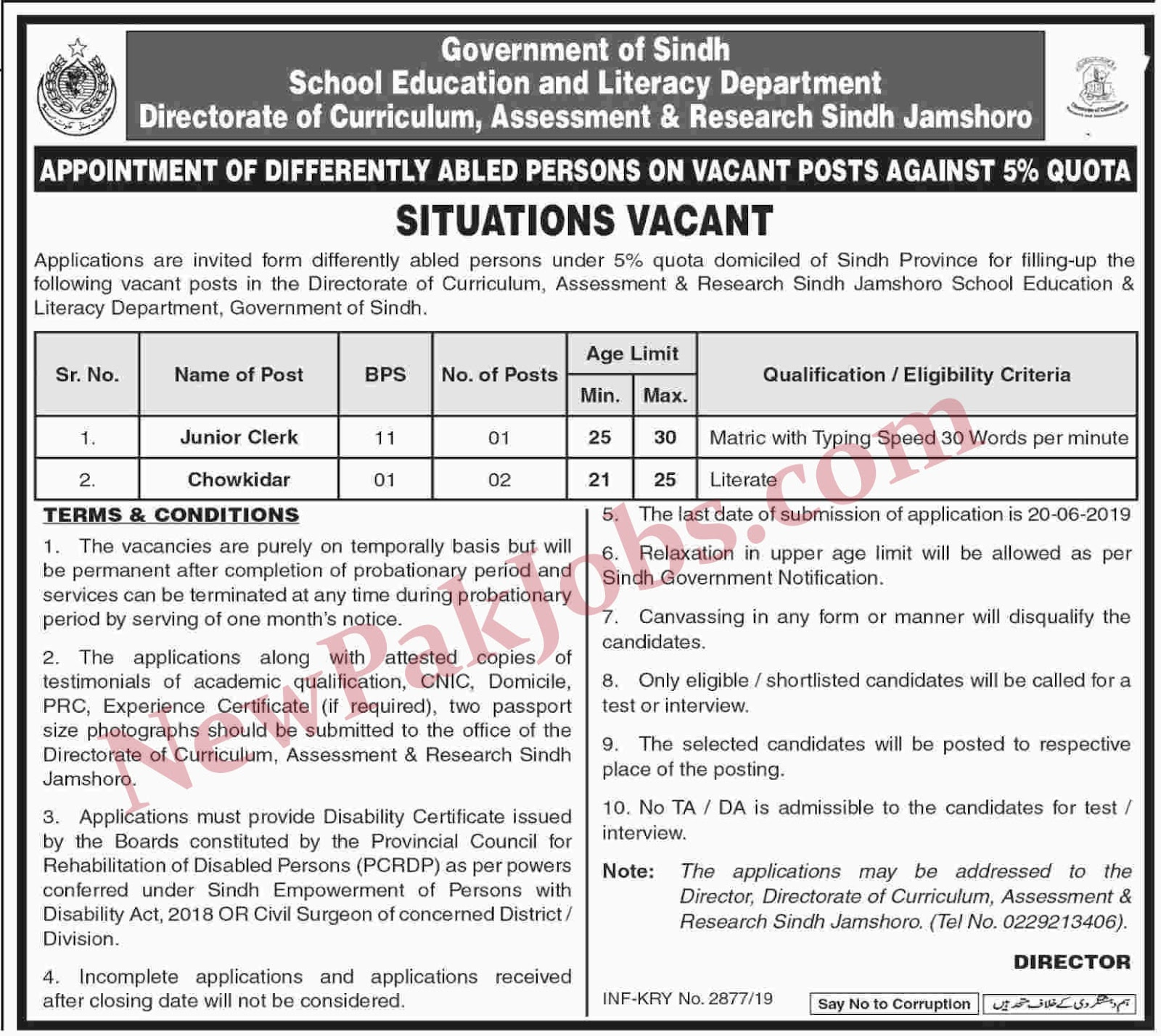 Jobs in Literacy Department Govt of Sindh 31 May 2019