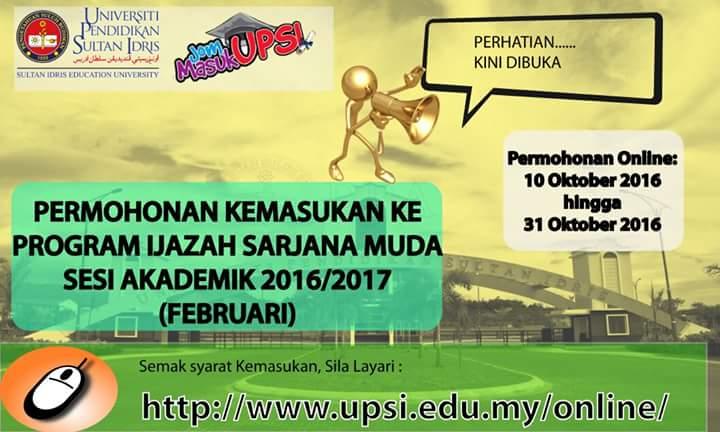 Permohonan kemasukan UPSI online