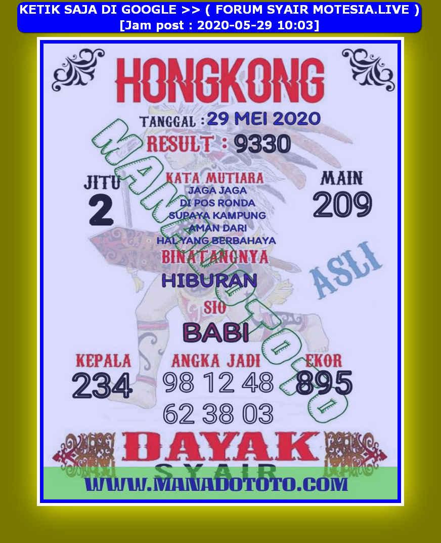 Kode syair Hongkong Jumat 29 Mei 2020 16