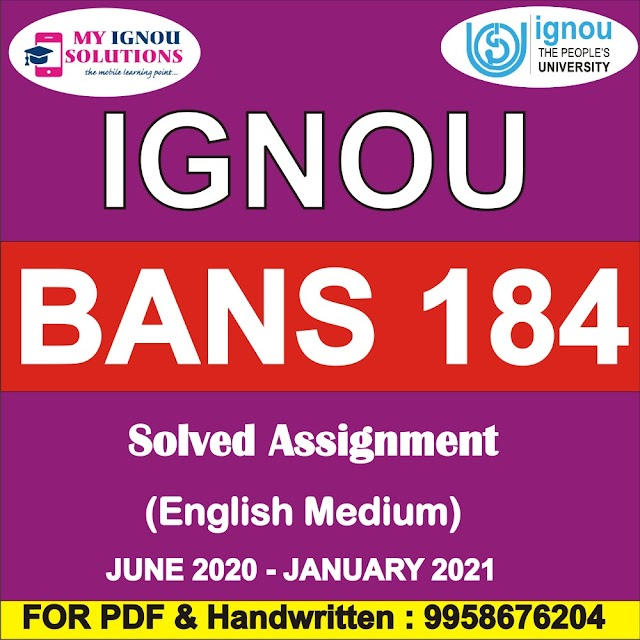 BANS 184 Solved Assignment 2020-21