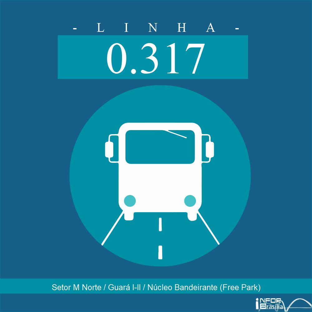 Horário de ônibus e itinerário 0.317 - Setor M Norte / Guará I-II / Núcleo Bandeirante (Free Park)