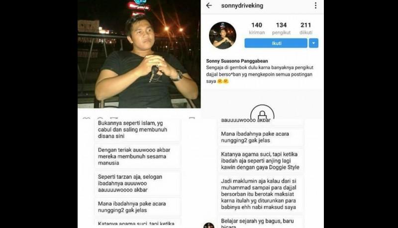 Sonny Suasono Panggabean menghina Islam di Instagram