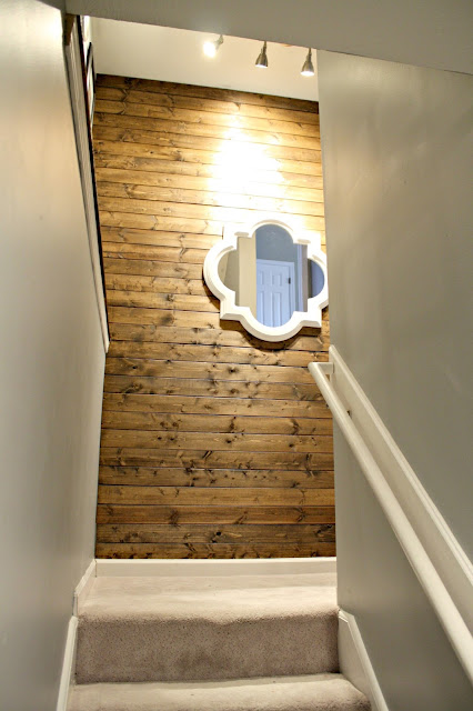Inexpensive wood wall in stairway