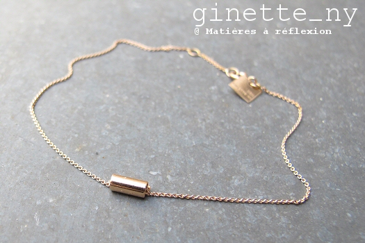 Bracelet Ginette NY bijoux Mini-straw en or rose 18 carats