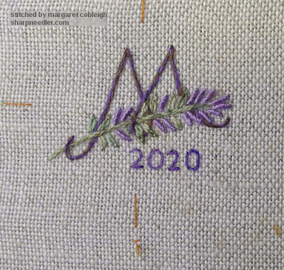 An embroidered initial and date for the back of the Lavender and Bees Scissors Keeper