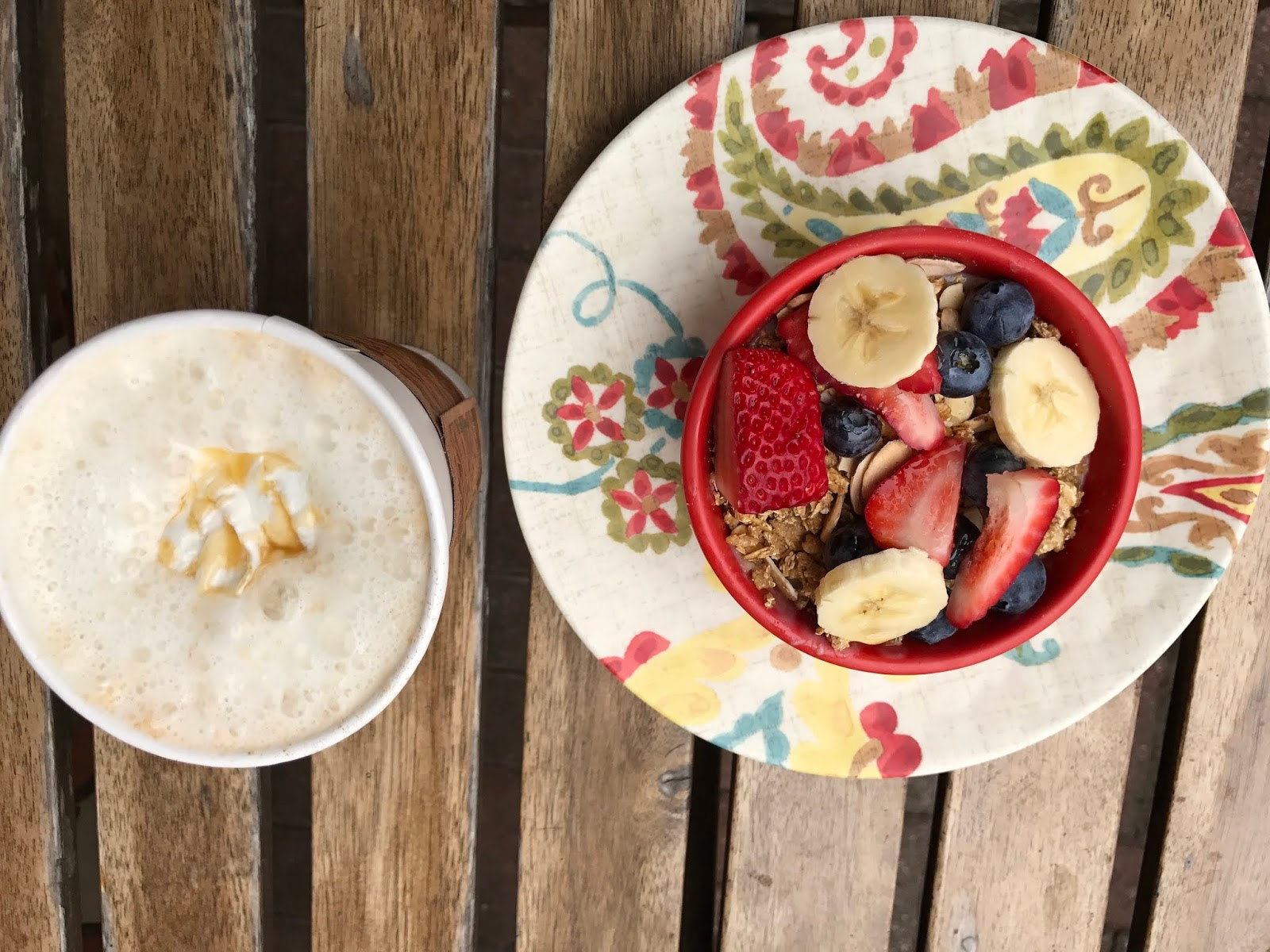Image: Oatmeal and coffee on table.