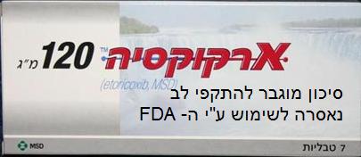 """ארקוקסיה - סיכון מוגבר להתקפי לב - נאסרה לשימוש ע""""י ה- FDA"""