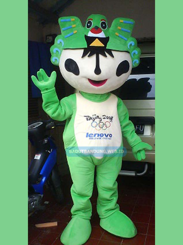 Badut lenovo hijau maskot olimpiade beijiing 2008