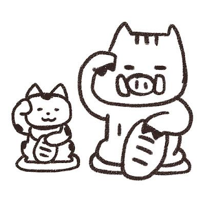 招き猫と猪のイラスト(亥年)モノクロ線画