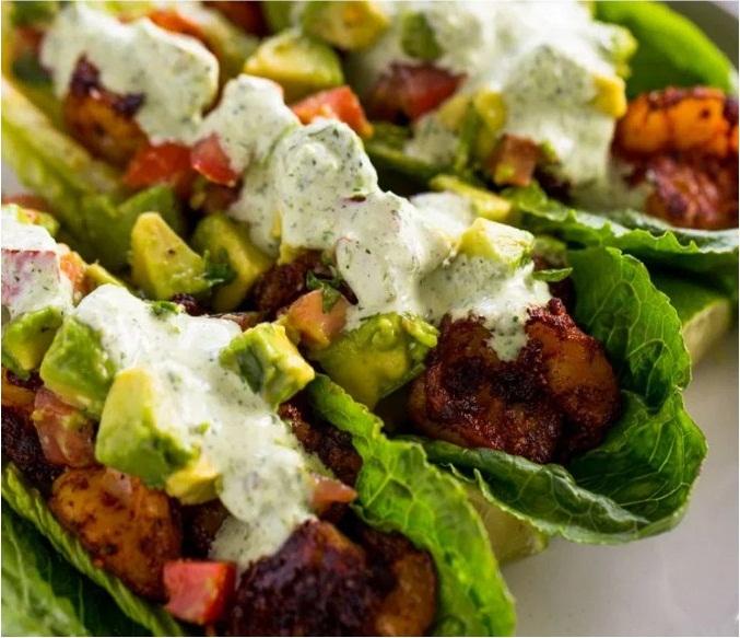 Spicy Shrimp Taco Lettuce Wraps
