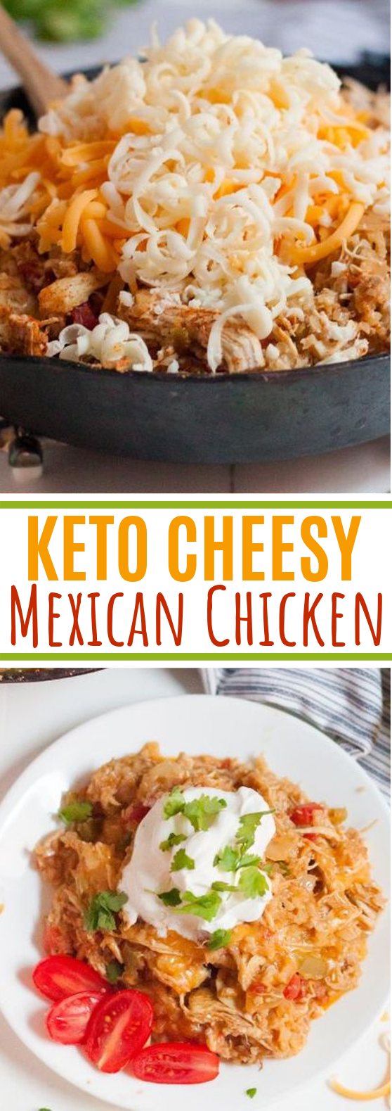 Keto Cheesy Mexican Skillet Chicken #keto #dinner #chicken #lowcarb #diet