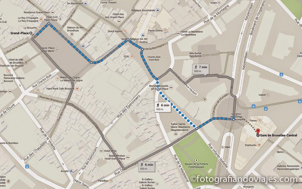 plano estación central de Bruselas