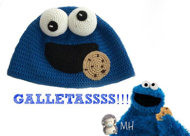 Gorro a crochet Triki, monstruo de las galletas